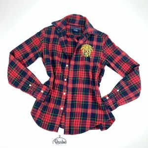 Ralph Lauren Red Plaid Embroidered women Top D3601